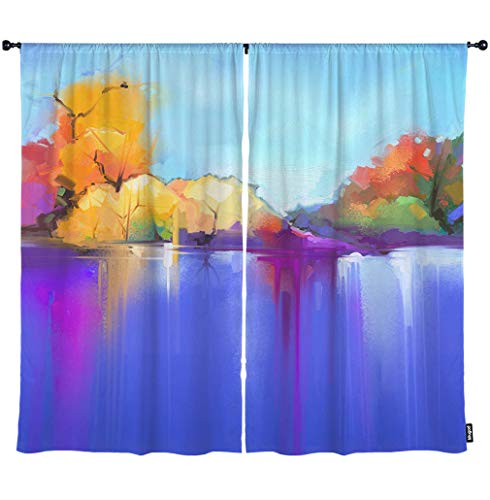 Mugod Tree and Lake Window Curtain Semi Abstract Blue and Purple Sunlight Landscape Nature Blackout Curtains Home Decorative Polyester Large Window Drapes 2 Panels for Bedroom 108
