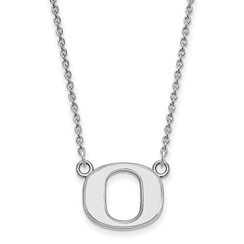 925 Sterling Silver Officially Licensed University College of Oregon Small Pendant with Necklace (18 in x 1.25 mm) by Unknown