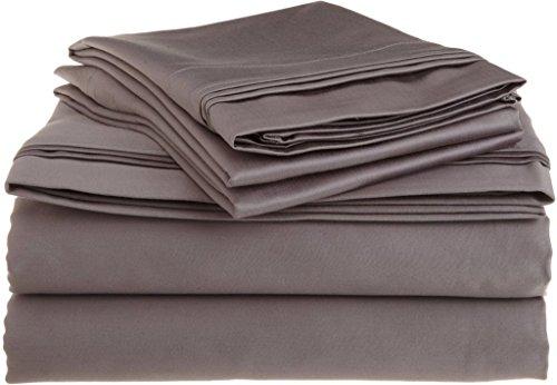 #1 Bed Sheet Set Queen Size Dark Grey Solid Soft Quality Gen