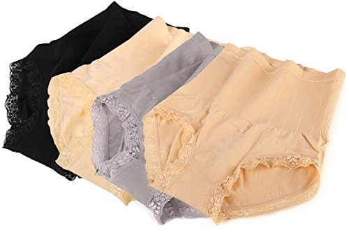 (4-Pairs) Lace Fashion Soft Cotton High Waist Stomach Clinching Women's Panties S, M, L (Medium, Variety Pack)