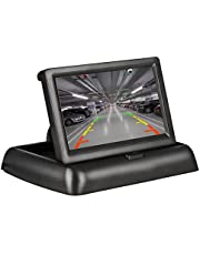 4.3 Inch Car Rearview Foldable Monitor, Car Digital Parking Rearview Monitor TFT LCD Display Screen Support Reversing Camera/VCD/DVD