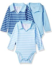 Hanes Ultimate Baby Baby Boys Flexy 3 Pack Long Sleeve Polo Bodysuits