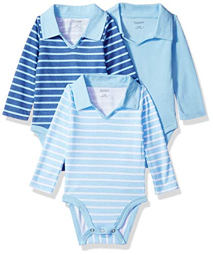 (Hanes Ultimate Baby Flexy 3 Pack Long Sleeve Polo Bodysuits, Blue Stripe, 12-18)