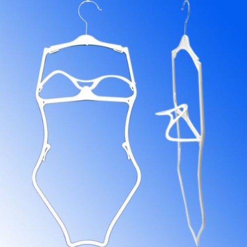 White Economy 3 Dimensional Plastic Frame Swimsuit, Bikini, Lingerie Hanger - Pack of 25