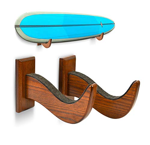 TESLYAR Surboard Rack Holder Hooks Ash Tree Wood Eco-Friendly Display Natural Finish Snowboard Wakeboard