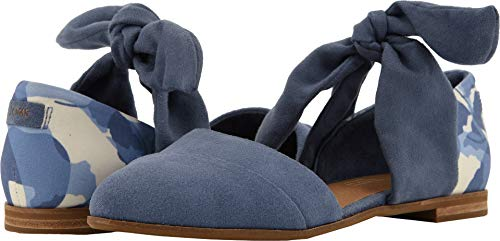 Leaves Bow - TOMS Women's Jutti D'Orsay Infinity Blue Suede/Abstract Leaf/Bow 6 B US