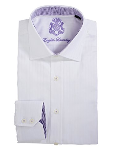 English Laundry Men's 100% Cotton Classic Fit Long Sleeve White Dress (English Laundry Striped Shirt)