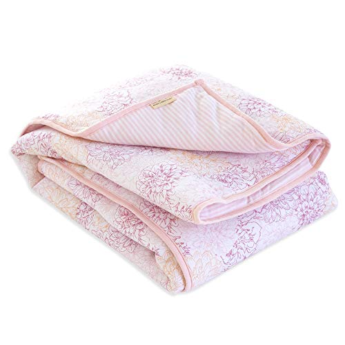 Burt's Bees Baby - Reversible Quilt, Baby and Toddler Nursery Blanket, Organic Cotton Shell & Polyester Fill (Peach Floral)