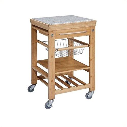 BOWERY HILL Granite Top Kitchen Cart Bamboo Inlaid Granite Top