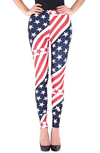 [Women's Stars Stripe USA Flag Print Long Leggings National Day Costume S] (Costumes National Womens Clothing)