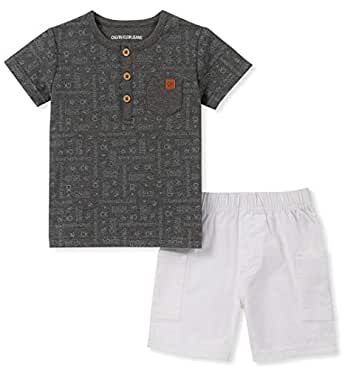 Calvin Klein Baby Boys 2 Pieces Shorts Set, Charcoal/White, 12M
