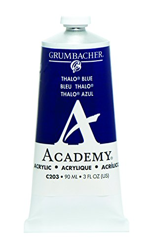 Grumbacher Academy Acrylic Paint, 90ml/3 oz Metal Tube, Thalo Blue