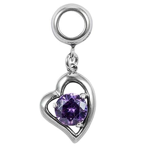 Sterling Silver Charm Heart Love February Birthstone Charm Swarovski Crystal for European Charm Bracelets - February Birthstone Charm