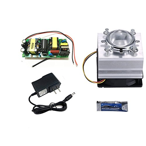 DIY 100W led driver + heatsink + Lens with Reflector Collimator + 12V Power Adapter for High power LED Grow light LED light (Heat sink system)
