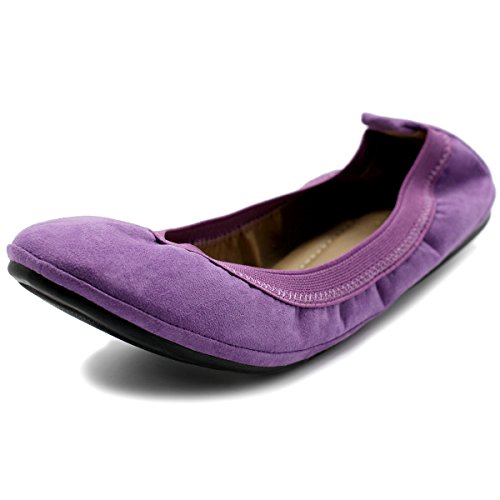 Ollio Damenschuhe Faux Suede Comfort Ballet Flat Lila