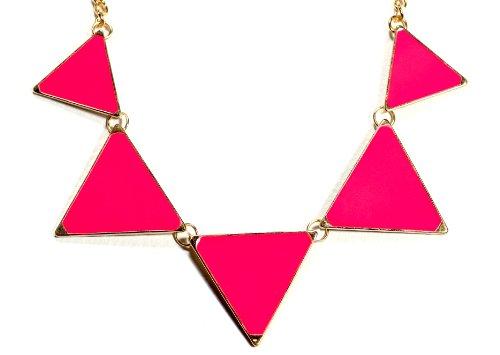 Magic Metal Modern Triangle Bib Necklace Neon Pink NH67 Stations Geometric Statement ()