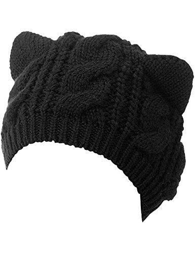 Zgllywr Women's Hat Cat Ear Crochet Braided Knit Caps