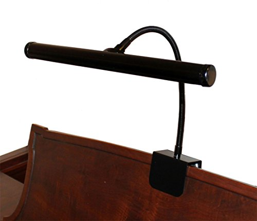 LED Piano Lamp Black Flexible Gooseneck 12 Inch Shade Piano Light Ebony