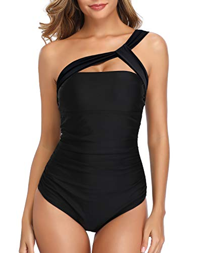 Holipick Women One Piece Ruched One Shoulder Bathing Suit Tummy Control Backless Swimsuit Black - Swimsuit Black One Shoulder