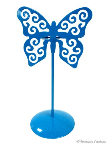 American Chateau Cyan Butterfly Votive Candle Holders with Glass Metal Holder Table Top - Votive Holder Candle Butterfly