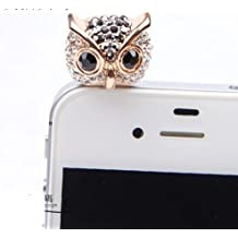 Big Mango Cute Crystal Rhinestone Owl Anti Dust Plug Stopper / Ear Cap / Cellphone Charms for Apple iPhone 5 iPhone 4 4s ,iPad Mini iPad 2 ,iPod Touch 5 4,Samsung Galaxy S3 S4 Note3 Note 2,HTC and Other 3.5mm Earphone Jack Phones ( Black )