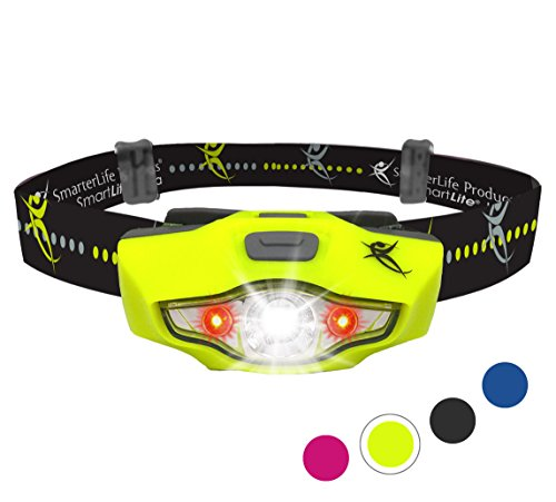 Headlamp by SmarterLife | Super Bright & Light Headlamps | CREE LED with 6 Light Modes | Water Resistant Headlight for Camping, Running, Hiking, Hunting, Emergency | Battery, eBook (Neon Green) (6 Blue Bright Led Flashlight)