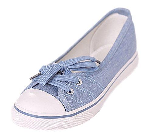 Minetom Mujer Chicas Moda Lona Zapatos Punta Redonda Tacón Plano Espadrilles Ocio Zapatos Azul Claro 37