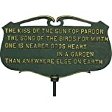 Whitehall Products The Kiss of The Sun. Garden Poem Sign, Green/Gold