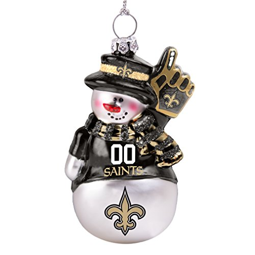 NFL New Orleans Saints Glitter Snowman Ornament