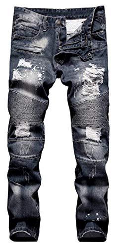 Fit Casual Blau Jeans Uomo Moto Denim Strappati Slim Da Look Biker Pantaloni 1q6gUq
