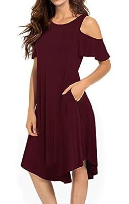 VERABENDI Women's Casual Cold Shoulder Midi Dress Short Sleeve Swing Dress with Pockets
