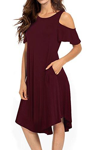 ea8bb07951f5 VERABENDI Women's Casual Cold Shoulder Midi Dress Short Sleeve Swing Dress  with Pockets