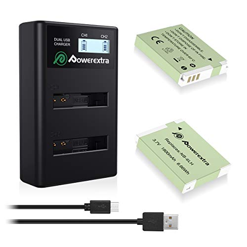 - Powerextra 2 Pack Replacement Canon NB-6LH Battery and Smart LCD Display Dual USB Charger for Canon NB-6L and Powershot S120, SX510 HS, SX280 HS, SX500 IS, SX700, D20, S90, D30, ELPH 500, SX270, SX240
