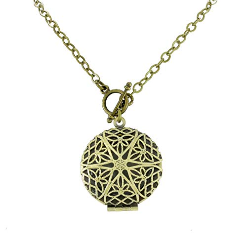 Front Toggle Clasp Bronze/Brass Tone Handmade Aromatherapy Essential Oil Diffuser Locket Necklace