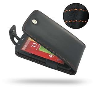 Motorola MOTO G Leather Case / Cover (Handmade Genuine Leather) - XT1032 - Flip Top Type (Black/Orange Stitchings) by Pdair