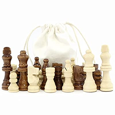 Set of Complete Wooden Chess Pieces (32 pieces), Wooden Replacement Chess Figures with Kings, Queens, Castles, Knights & Pawns