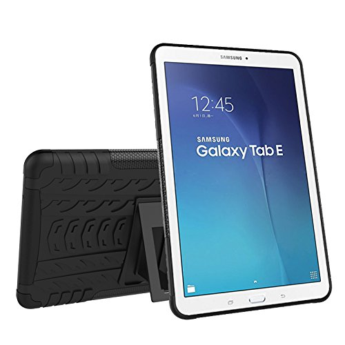 Galaxy Tab E 9.6 Case Cokaunion Shockproof Heavy Duty 2 in 1 Combo Hybrid Rugged Dual Layer Protective Case Cover with Kickstand for Samsung Galaxy Tab E 9.6-inch T560 (Black1)