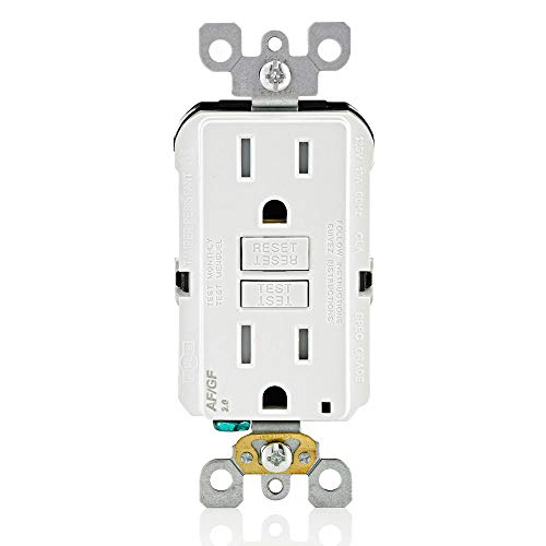 Leviton AGTR1-W SmartlockPro Dual Function AFCI/GFCI Receptacle, Wallplate Included, 15 Amp/125V, White
