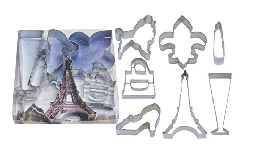 R&M International 1890 Paris Collection Cookie Cutters, Poodle, Fleur de Lis, Lipstick, Purse, High Heel, Eiffel Tower, Champagne Glass, 7-Piece Set