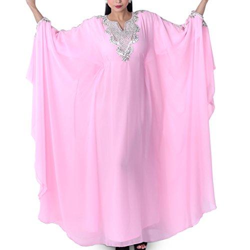 Pink Caftan - Zahra's Houte Couture Women's Dubai Style Kaftan Caftan Farasha Abaya Evening Maxi Dress (Petal Pink Pearl)