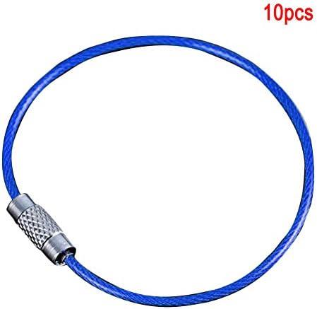 Draht-Schlüsselanhänger, zum Aufhängen im Freien, langlebig, farbenfrohes Werkzeug, multifunktionale Mini-Schrauben-Verriegelung (lila), nicht null, blau, Free Size