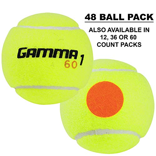 (Gamma Sports Kids Training (Transition) Balls, Yellow/Orange Dot, 60 Orange Dot, Bucket of 48)