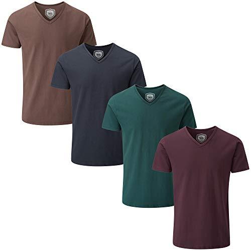 Charles Wilson 4 Pack Men's Comfort Stretch V-Neck T-Shirt