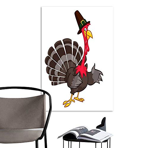 UHOO Canvas Wall Art Painting Thanksgiving Cartoon Turkey Bird Vector Illustration of Funny Turkey Character Clipart.jpg Nature Canvas Artwork Home Office Wall -