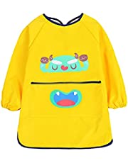 Kids Art Smock, Waterproof Children Art Aprons Artist Painting Aprons with Long Sleeve and Pocket for Boys Girls Age 6-9 Years (Yellow - B)