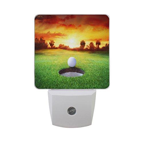 ALAZA 2 Pack Sport Golf Ball Sunset Tree LED Night Light Dusk to Dawn Sensor Plug in Night Home Decor Desk Lamp for Adult