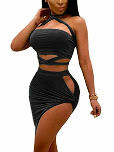 GOBLES Womens Sexy Two Piece Outfits Bodycon Criss Cross Bandage Mini Club Dress
