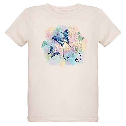 - Truly Teague Organic Kids T-Shirt Long Tailed Butterfly with Flowers - Large (12 Yrs)