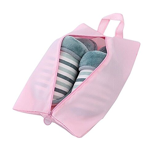 Price comparison product image Travel Luggage Packing Organizers with Laundry Bag and Toiletry Bag Packing Cubes (6pc Value Set,  Pink Stripe) (Shoe Bags Pink)