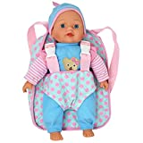 12' Soft Baby Doll with Take Along Pink Doll Backpack Carrier, Briefcase Pocket Fits Doll Accessories and Clothing